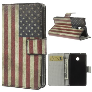 Vintage USA American Flag Leather Wallet Cover w/ Stand for Huawei Ascend Y330