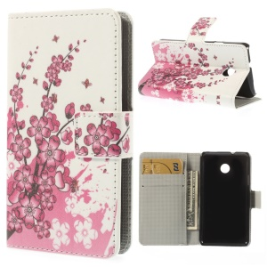 Plum Blossom Magnetic Leather Case w/ Card Slots for Huawei Ascend Y330