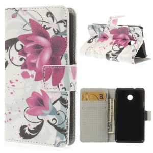 Elegant Lotus Magnetic Leather Cover w/ Card Slots for Huawei Ascend Y330