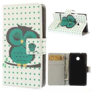 Green Sleeping Owl Magnetic Leather Card Holder Cover for Huawei Ascend Y330