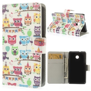 Colorful Owls PU Leather Magnetic Cover w/ Stand for Huawei Ascend Y330