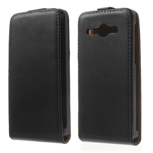 Genuine Split Leather Vertical Flip Case for Huawei Ascend Y530 / C8813 - Black