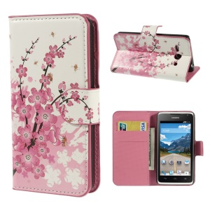 Cherry Blossom Wallet Leather Card Holder Cover for Huawei Ascend Y530 / C8813
