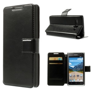 Black Crazy Horse Pattern PU Leather Case w/ Stand for Huawei Ascend Y530 / C8813