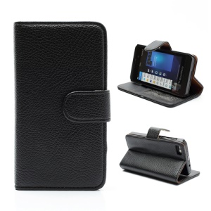 Lychee Leather Card Wallet Case Stand for BlackBerry Z10 BB 10 - Brown / Black