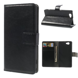 Crazy Horse Leather Wallet Cover Stand for Sony Xperia Z1 Compact D5503 - Black