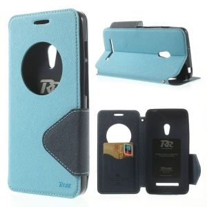 Baby Blue Roar Korea for Asus Zenfone 5 Diary View Window Leather Card Slot Cover