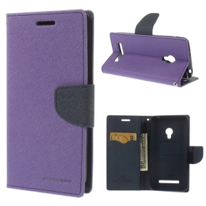 Mercury GOOSPERY Fancy Diary Stand Leather Wallet Shell Cover for Asus Zenfone 5 - Dark Blue / Purple