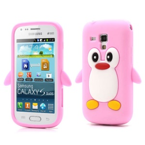 3D Cute Penguin Soft Silicone Case for Samsung Galaxy S Duos S7562 S7560 S7560M - Pink