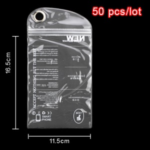 50pcs/lot Plastic Zip-lock Waterproof Packaging Bag with Hang Hole for Samsung N7100 i9300 For iPhone 5 Cases, Size: 16.5 x 11.5cm - White