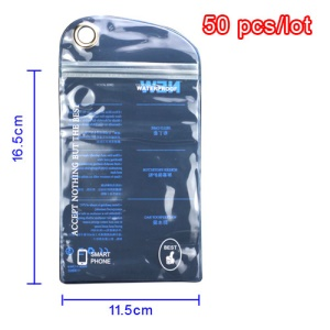 50pcs/lot Plastic Zip-lock Waterproof Packaging Bag with Hang Hole for Samsung N7100 i9300 For iPhone 5 Cases, Size: 16.5 x 11.5cm - Blue