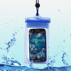 Waterproof Dry Bag Case for Samsung Galaxy S5 G900 / S4 I9500 / S3 I9300 Etc (Size:175 x 95mm) - Transparent Blue