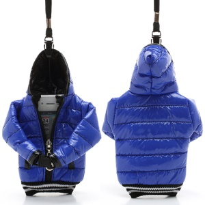 Down Jacket Cotton Bag Pouch for iPhone SE 5s 5 5c 4S 4 / 4-inch Cellphones - Black / Dark Blue