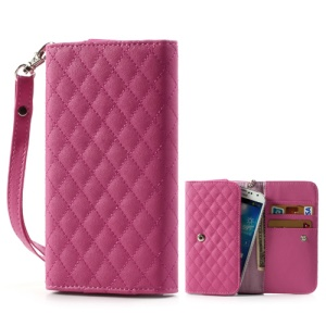 Rose Rhombus Leather Wallet Pouch Handbag for Samsung i9500 i9300 / Sony / HTC / LG / Nokia / iPhone etc, Size: 13.8 x 7.1cm