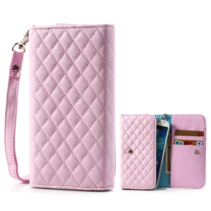 Pink Rhombus Leather Wallet Pouch Bag for Samsung i9500 i9300 / Sony / HTC / LG / Nokia / iPhone etc, Size: 13.8 x 7.1cm