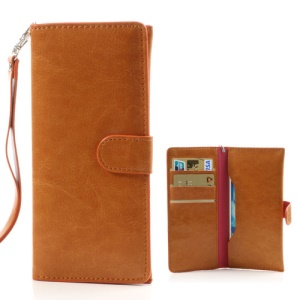 Brown Soft Leather Wallet Case Pouch for iPhone SE 5s 5c 5 4S 4 / Samsung i9500 i9300 i9190/ Sony / HTC etc, Size: 15.5 x 7.5cm