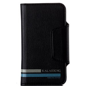 Black KLD Versal Series Leather Wallet Case for Samsung Galaxy i9300 HTC One M7 & 4.3 - 4.8inch Cellphones