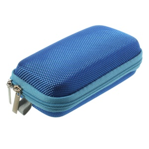 Blue Earphone Cable Charging Cable Battery Zipper Storage Box Carrying Case Bag, Size: 11.5 x 7 x 3.5CM