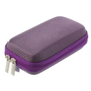 Purple Earphone Cable Charging Cable Battery Zipper Storage Box Carrying Case Bag, Size: 11.5 x 7 x 3.5CM