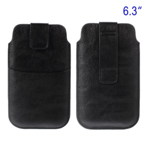 Black Card Slot Leather Pouch Case for Samsung Galaxy S5 G900 I9200 I9150 I9152 N7100 N9000 Etc, Size: 17.8 x 10.5cm