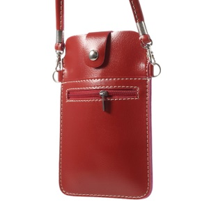 Red Universal Leather Bag Case w/ Shoulder Strap for Samsung Sony Xperia HTC LG Etc, Size: 18 x 11cm