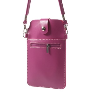 Rose Universal Leather Purse Bag w/ Shoulder Strap for Samsung Sony Xperia HTC LG Etc, Size: 18 x 11cm