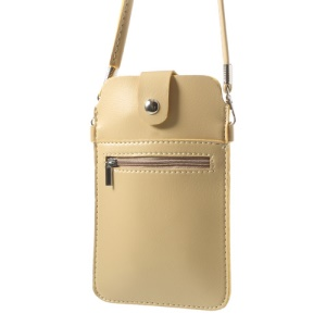 Beige Universal Leather Purse Case w/ Shoulder Strap for Samsung Sony Xperia HTC LG Etc, Size: 18 x 11cm