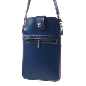 Blue Universal Leather Bag Cover w/ Shoulder Strap for Samsung Sony Xperia HTC LG Etc, Size: 18 x 11cm