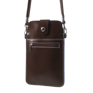 Coffee Universal Leather Case Bag w/ Shoulder Strap for Samsung Sony Xperia HTC LG Etc, Size: 18 x 11cm