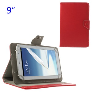 Universal Crazy Horse Flip Leather Stand Cover for Samsung P7300 P7310 P7320 9-inch Tablet PC - Red