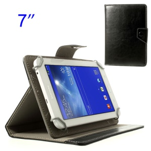 Black Universal Crazy Horse Leather Case Stand for Samsung Tab T110 T111 P3210 /Amazon Kindle Fire Etc, Size: 12.5 x 19.5cm