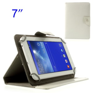 White Universal Crazy Horse Leather Cover Stand for Samsung Tab T110 T111 P3210 /Amazon Kindle Fire Etc, Size: 12.5 x 19.5cm
