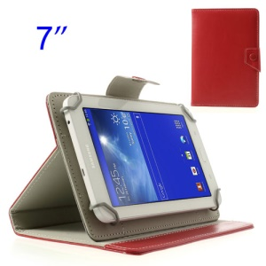 Red Universal Crazy Horse Stand Leather Shell for Samsung Tab T110 P3210 P6200/ Lenovo S5000 Etc, Size: 12.5 x 19.5cm