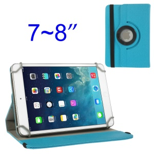 Baby Blue 360 Degree Rotary Twill Leather Stand Cover for iPad Mini 2 Retina / iPad Mini 7-8 inch Tablet PC
