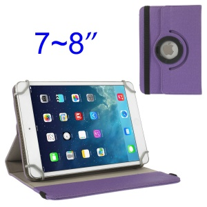 Purple 360 Degree Rotary Twill Leather Stand Shell for iPad Mini 2 Retina / iPad Mini 7-8 inch Tablet PC