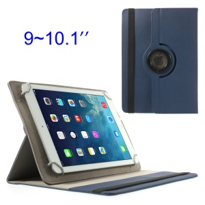 Dark Blue 360 Degree Rotary Twill Leather Stand Shell for iPad / Samsung Tab 10.1 / Sony Xperia Tablet Z 9-10 inch Tablet PC