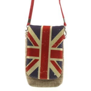 Universal Double Layers Linen Cloth Pouch Bag for iPhone Samsung HTC Sony Smartphones - Union Jack UK Flag, Size: 16.5 x 9.5cm