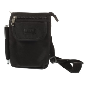 Nylon Cloth Pouch Bag w/ Strap & Buckle for iPhone Samsung Sony HTC Smartphones - Black, Size: 17 x  12cm