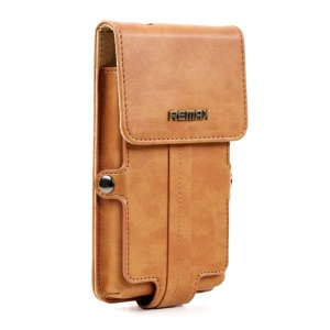 Coffee Remax Pedestrian Series Leather Holster Case Pouch for Samsung Galaxy Note 2 / Note 3 etc, Size: 163 x 92 x 30mm (L)