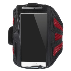 Red Sweat-absorbent Mesh Gym Workout Armband Pouch for iPhone 6s 6 / Samsung Galaxy S5 G900 / S4 I9500 Etc.
