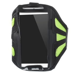 Green Sweat-absorbent Mesh Gym Sports Armband Case for iPhone 6s 6 / Samsung Galaxy S5 G900 / S4 I9500 Etc.