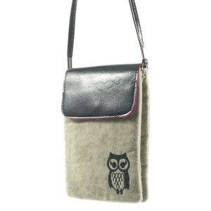 Grey Owl Soft Velvet Dual-pocket Protective Bag for Power Bank iPhone Samsung HTC Sony etc, Size: 16 x 11.5cm