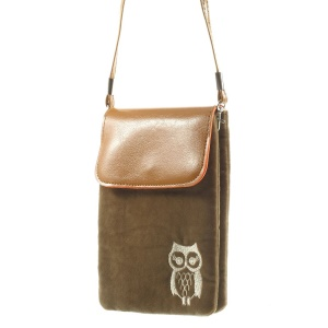 Brown Owl Soft Velvet Dual-pocket Carring Pouch for Power Bank iPhone Samsung HTC Sony etc, Size: 16 x 11.5cm