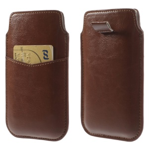 Brown Crazy Horse Leather Pouch Cover w/ Pull Tab for iPhone 7 6 4.7 inch Samsung S4 / S3, Size: 140 x 78mm