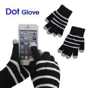 Unisex Warm Knit Capacitive Touch Screen Gloves Horizontal Stripe for iPhone iPad iPod Samsung i9300 Galaxy S3 - Black