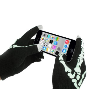 Skeleton Unisex Capacitive Touch Screen Knit Warm Gloves for iPhone iPad iPod Samsung HTC - Black / Green