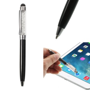 Black Bling Flowing Crystal Capacitive Touch Stylus & Ballpoint Pen for iPhone iPad Samsung LG Huawei