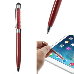 Red Bling Flowing Crystal Capacitive Touch Stylus & Ballpoint Pen for iPhone iPad Samsung LG Huawei