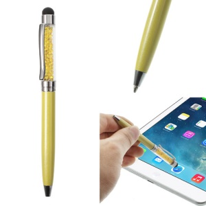 Yellow Bling Rhinestone Capacitive Touch Stylus & Ballpoint Pen for iPhone iPad Samsung LG Huawei