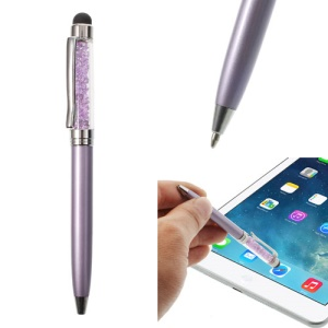 Purple Bling Rhinestone Capacitive Touch Stylus & Ballpoint Pen for iPhone iPad Samsung Sony HTC
